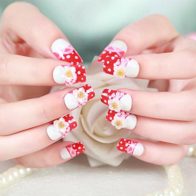 24pcs Set White Flower Wedding False Nails Art Design Acrylic