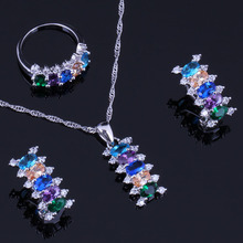 Incredible Multi-Gem Multi-Color Cubic Zirconia 925 Sterling Silver Jewelry Sets For Women Earrings Pendant Chain Ring V0300