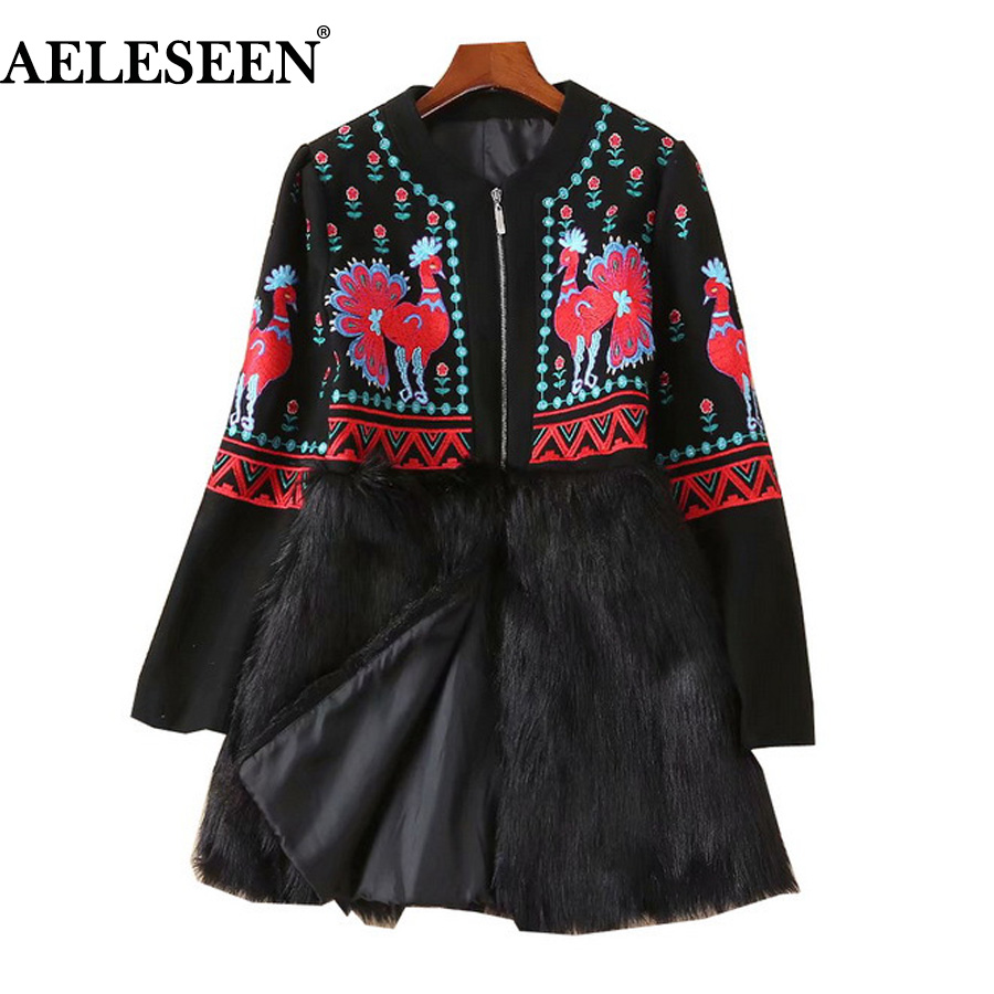 Animal Flare Coat Wool Sleeve Leopard Flower Embroidery Bird Women qFWHtgzx6