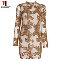 2017 Spring New Sequin Dress Women Embellished Floral Mesh Long Sleeve Dresses Bandage Winter Dress Sexy Costumes Party Vestidos