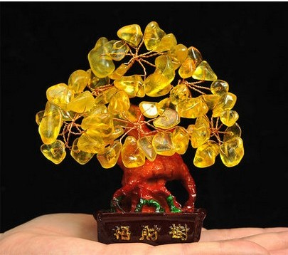 (Lucky tree Holiday gifts) natural citrine quartz crystal gem money tree in for wealth money bay