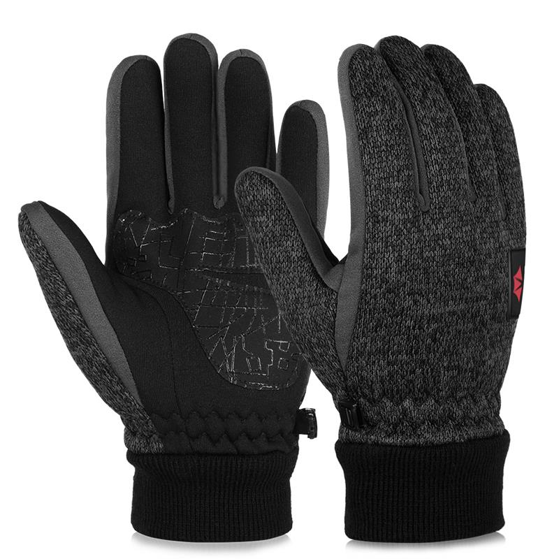 Vbiger Outdoor Running Hiking Gloves Winter Touch Screen Knitted Gloves Thicken Warm Glove