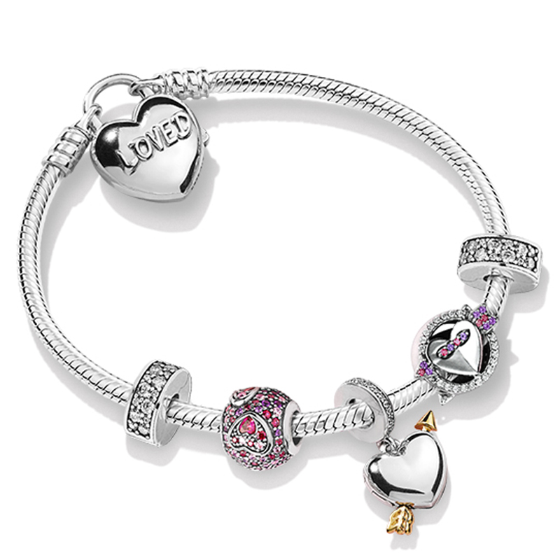 Kristie 100% 925 Sterling Silver ZT0247 Valentines Day Gift  Sweet Love Charm Beaded Bracelet SetKristie 100% 925 Sterling Silver ZT0247 Valentines Day Gift  Sweet Love Charm Beaded Bracelet Set