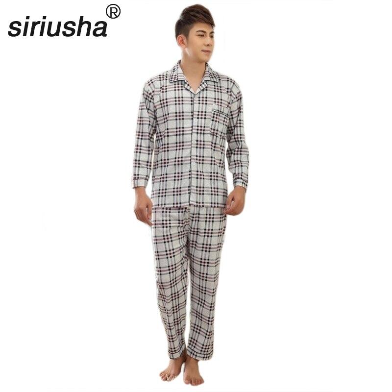 All Seasons Cotton Pajamas Men Pyjamas Plus Fertilizer Set Long Sleeve Men's Home Pleated Pyjama Cotton Plus Fat Code S06