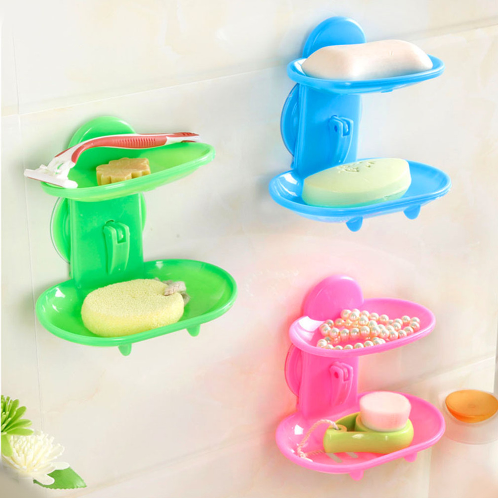 2017 NEW Wander Creative Double Layers Soap Box Bathroom Soap Dish Sucker Holder Container Drain And Trace Sucker Hot
