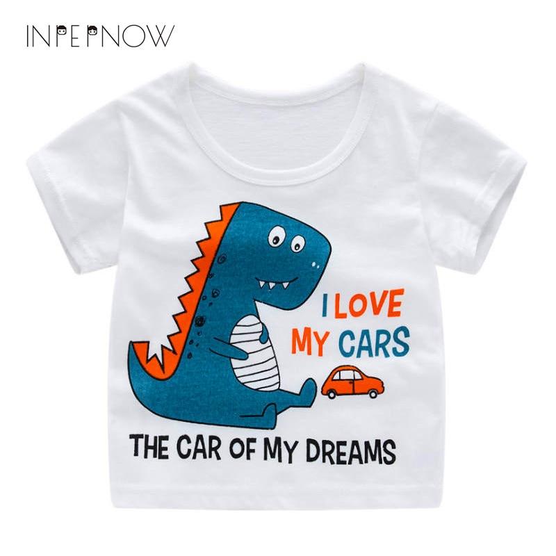 INPEPNOW baby boy tshirts Kids Girls Cotton Tshirt Cartoon Dinosaur Print Short Sleeve T-shirt Children Tee Tops Clothes T Shirt