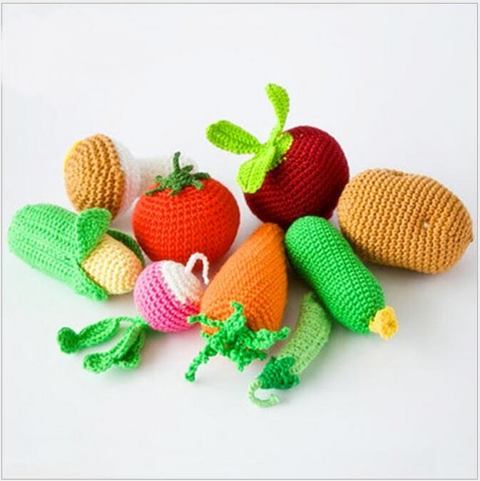 NEW STYLE.1pcs Crochet Bay Toy, Soft Eco-friendly Amigurumi Fruits/vegetables Toy, Newborn Gift , Kawaii Play Food Plush Toy 024