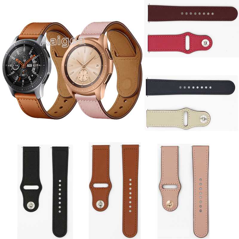 New Fashion Leather <font><b>Watch</b></font> Band Strap for <font><b>Samsung</b></font> Galaxy <font><b>Watch</b></font> 42mm <font><b>46mm</b></font> <font><b>Smart</b></font> <font><b>Watch</b></font> Replacement Wrist band strap Unisex <font><b>Bracelet</b></font> image