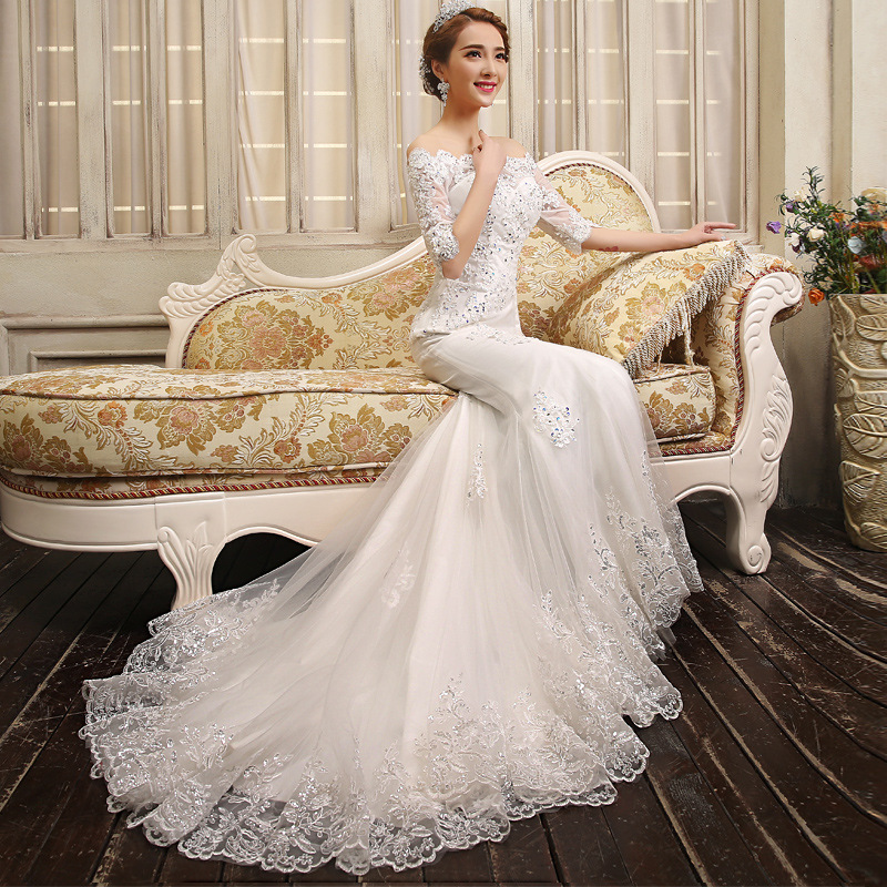 sceamout White Lace Boho Mermaid Wedding Dresses