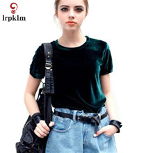 S-L 2017 Green Velvet Women's Casual Summer Tops Clothing Short Sleeve O Neck Solid Slim Fashion Party Girls Shirts YY808