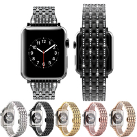 2017 New Style Crystal Rhinestone Diamond Watch Bands Luxury Stainless Steel Bracelet Strap For Apple Watch