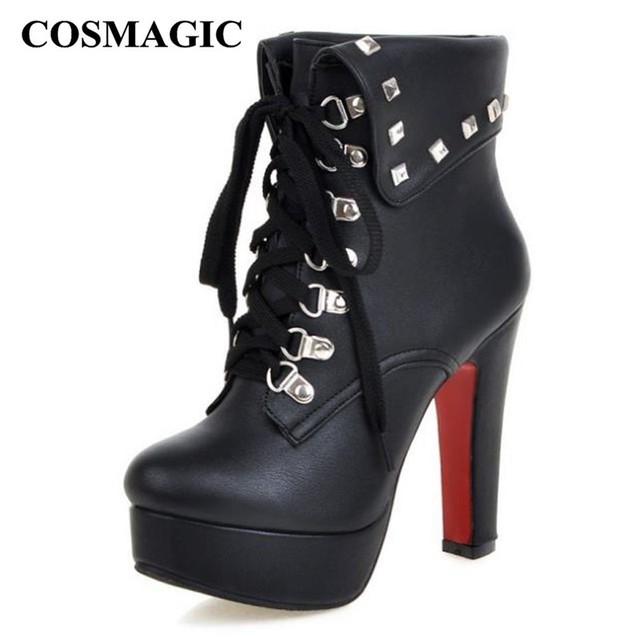c711b7ce11031 COSMAGIC 2018 New Winter Women Rivets Ankle Boots Motorcycle Super High Heel  Lace Up Gothic Punk