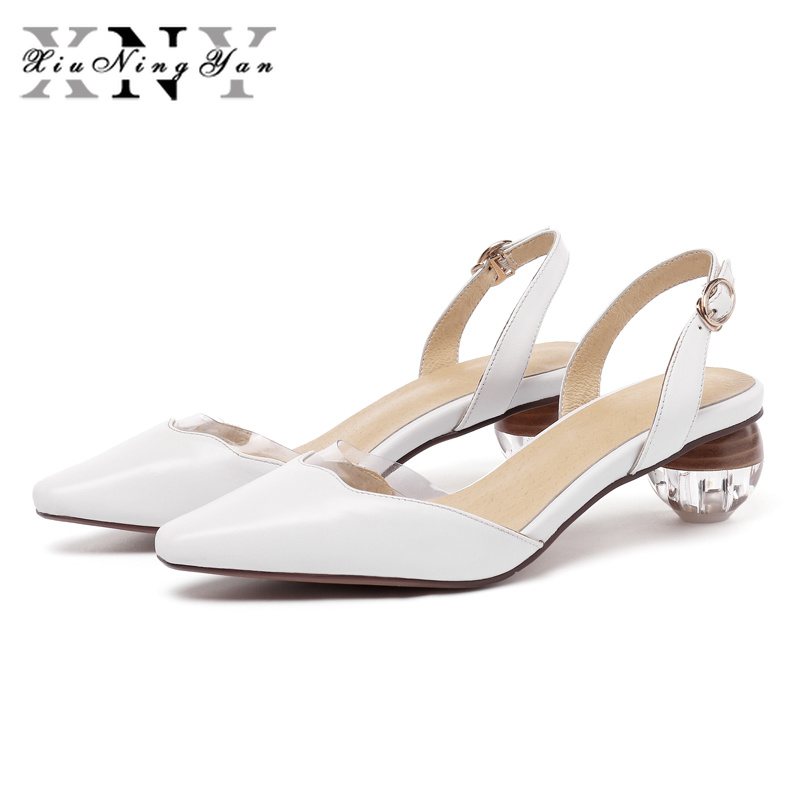 XiuNingYan Women Sandals Genuine Leather Summer Shoes Back Strap Egg Heel Buckle Party Ladies Dress Shoes