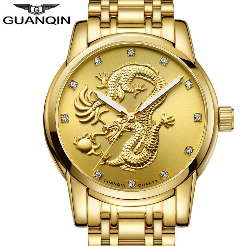 Prix pour Guanqin nouvelle marque de luxe or dragon sculpture en acier inoxydable quartz montre hommes d'affaires montre-bracelet étanche relogio masculino