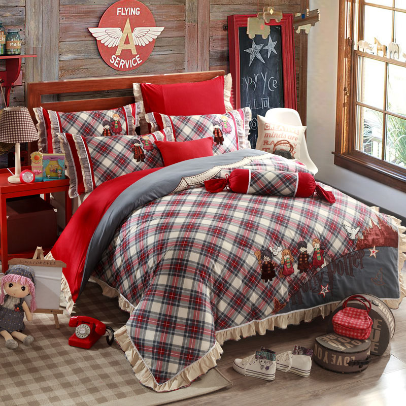 Harry Potter Plaid Kids Printed Embroidered England Style Egyptian Cotton Bedding Sets 5PCS QUEEN KING Size