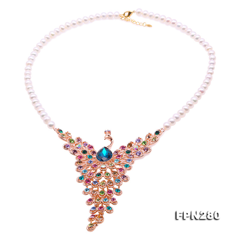 все цены на JYX Colorful Peacock Pearl Chains Pearl Choker necklace 7-7.5mm natural freshwater pearl chain Christmas GIFT
