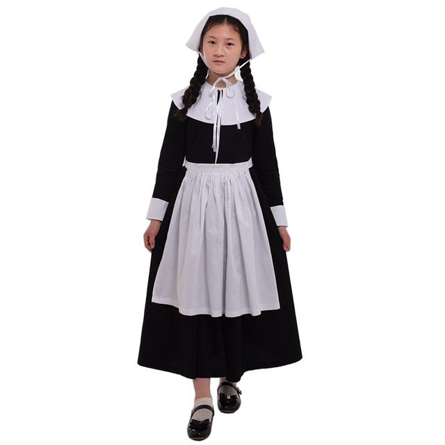 Girl Cosplay Dress 1920s Vintage Halloween Party Religious Pilgrim Puritan Clothing Classical Prairie Suit Carnival Costume