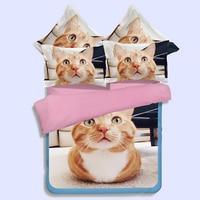 Cute 3D Cat Printed Flat Bed Sheet Bedding Set Animal Bedspread Quilt Duvet Cover Set Twin Queen King Size Bedclothes Bed Linen