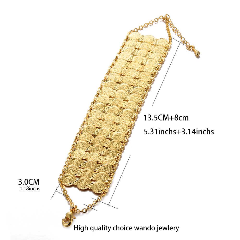 Wando Vàng Màu Sắc Đồng bộ trang sức vòng tay & Lắc Tay Nữ 24 K mạ bóng vòng tay vòng đeo tay nữ/ bạn gái vòng tay
