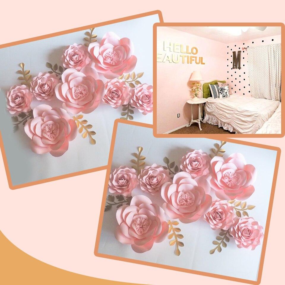 Baby Pink DIY 8PCS Giant Paper Flowers 7 Leaves Flores Artificiales Fleur Artificielle Wedding Backdrop Party