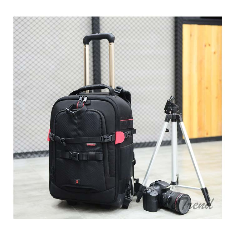 mochila de alta capacidade rolando bagagem câmera portátil sacos mala roda