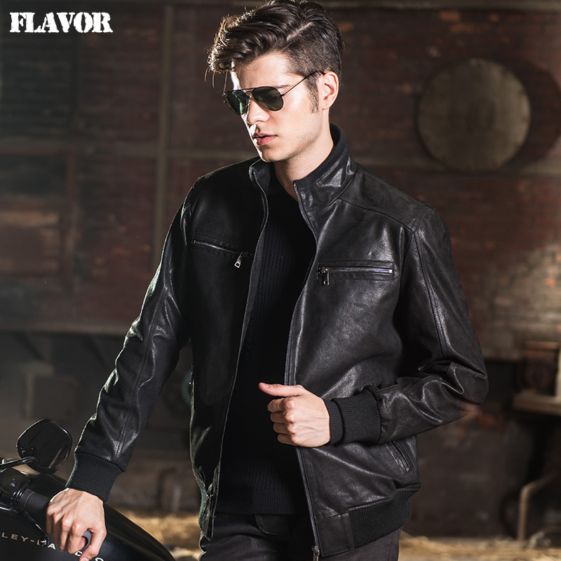 2017 Men's real leather jacket pigskin Genuine Leather jacket men leather coat motorcycle jackets