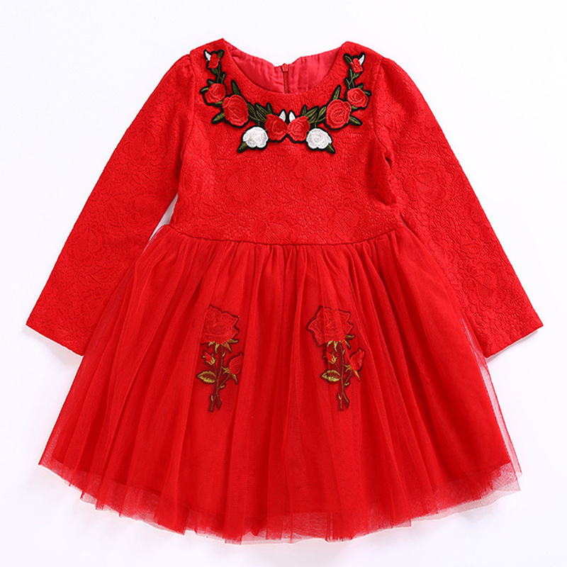 Autumn Winter Baby Girl Dress RED kids christmas costumes Children Party Girls Dress Long Sleeves embroidered