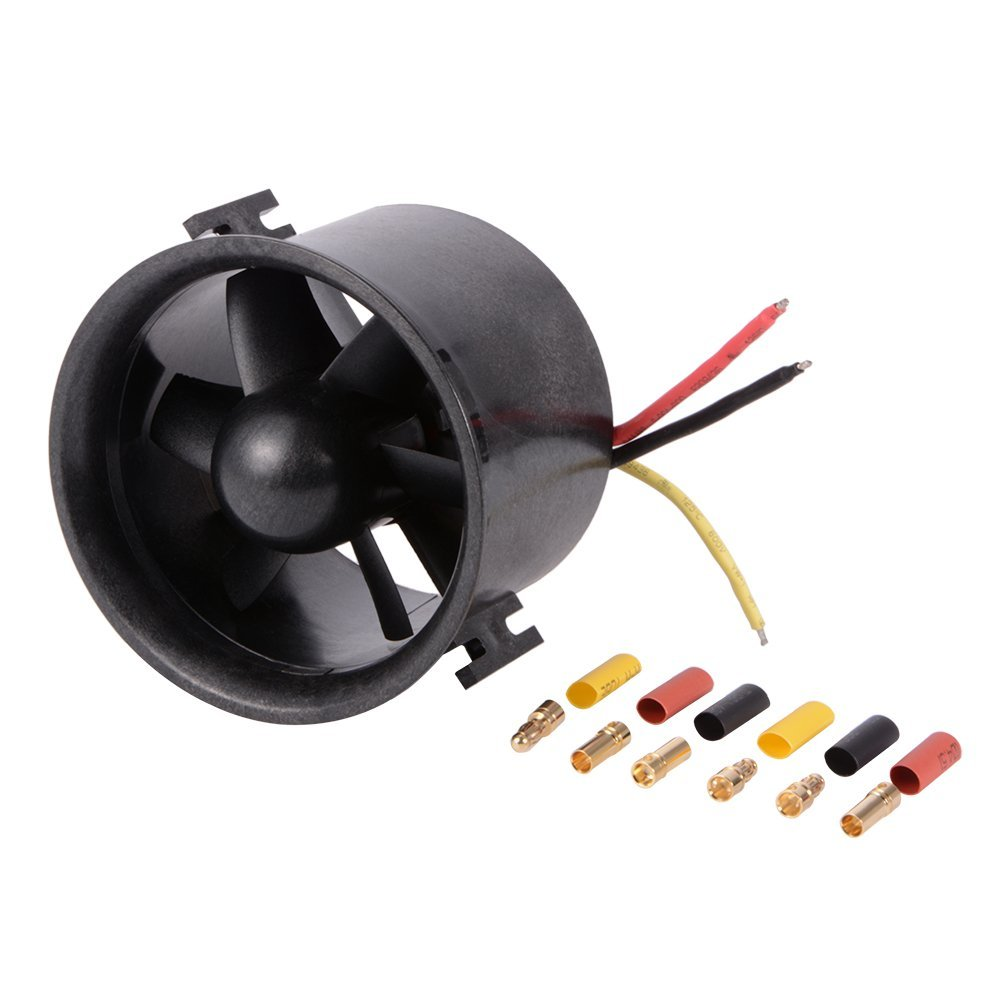 QX-Motor 70mm EDF Ducted 6-Rotor Fan with QF2822 - 3000KV Brushless Outrunner Motor Balance Tested for Jet AirPlane free shipping freewing new 70mm edf 12blades 4s e7215 about 1550g thrust 6s e7216 about 2150g thrust for edf airplane