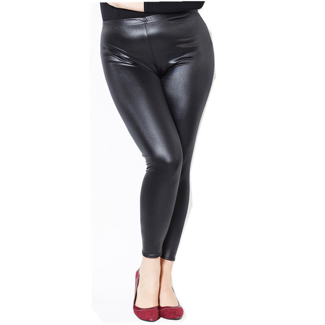 Spring PU Leather Leggings Women Faux Leather Elegant Slim Legins Fashion Waterproof Not Sticky Hair Leggins Large Size 5XL H698