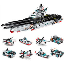 8In1 643Pcs Military Army Fighter Warship Carrier Weapon Building Blocks Bricks Model Compatible Legoings War Toys for Children(China)