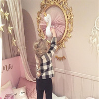 Cute 3D Golden Crown Swan Wall Art Hanging Wall Decorations Double sided Printed Pillow Cushion For Girls Ornament Baby Toys