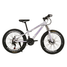 Bike Mountain bike 24-inch 26-inch steel shock absorption 21-speed Aluminum alloy mountain bikes Variable speed bicycle cheap 24 Speed Male Spring Fork (Low Gear Non-damping) 140-185cm Ordinary Pedal 150kg Hard Frame (Non-rear Damper) Double Disc Brake