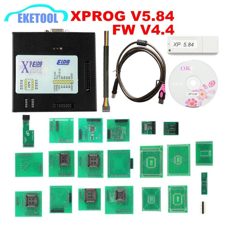 Xprog v5.55 v5.70 v5.74 v5.84 X-PROG m caixa de metal xprog v5.84 XPROG-M ecu programador ferramenta x prog m caixa v5.84 adaptadores completos