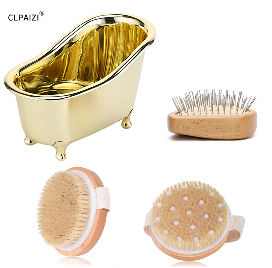 Bath Brush with fixed handle bright bristles 50cm