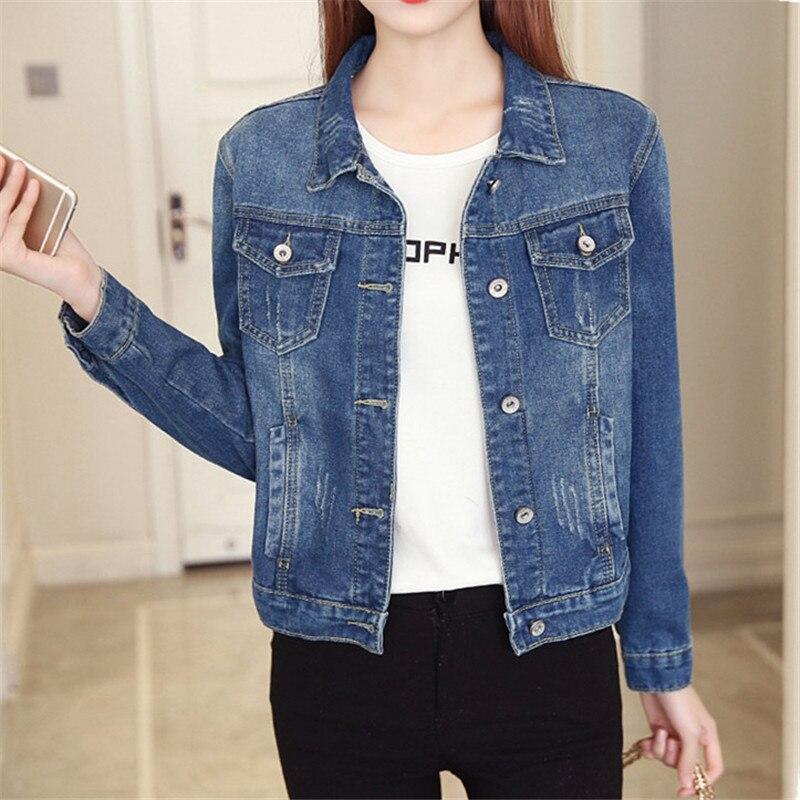 Denim   Jacket   Women 2018 Spring Slim Light Washed Long Sleeve Jeans   Jackets   Vintage   Basic   Coats Plus Size 5XL 6XL Oversize