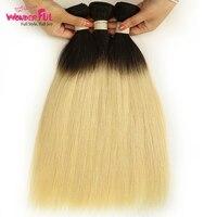 1/3/ 4 Bundles Blonde Brazilian Straight Hair Bundles Ombre Human Hair Bundles 1b 613 Brazilian Hair Weave 10 To 30 Inch