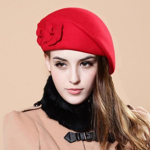 2017 New Fashion Women Beret Hat For Women Beanie Female Cap Flower French Trilby Wool Soft Stewardess Hat gorras planas