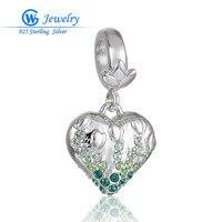 925 Sterling Silver Heart Charms Bracelets Necklace Women Engagement Accessories Cubic Zircon European Bracelet DIY S392H20