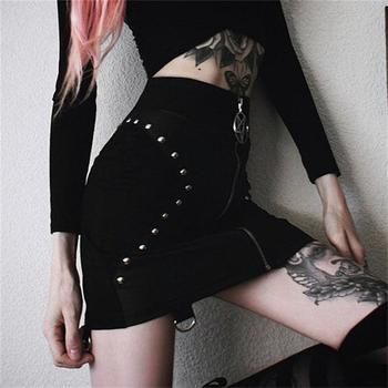 PU Leather Short Skirts Women Summer 2019 Bodycon Black Sexy Slim Rivet Skirt Gothic Punk High Waist Bodycon Pencil Mini Skirts 3