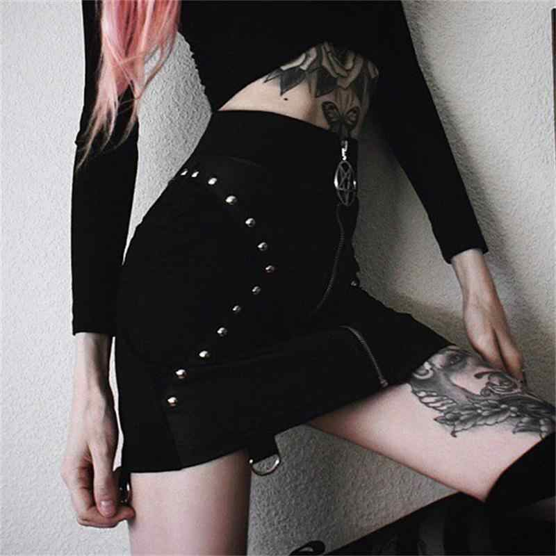 PU Lederen Korte Rokken Vrouwen Zomer 2019 Bodycon Black Sexy Slanke Klinknagel Rok Gothic Punk Hoge Taille Bodycon Potlood Mini rokken