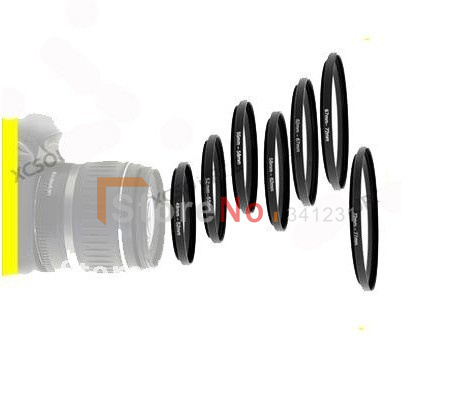 Lens Adapter 7pcs ring 49-52-55-58-62-67-72-77 mm 7pcs Metal Step Up Rings Lens Adapter Filter Set With Tracking number