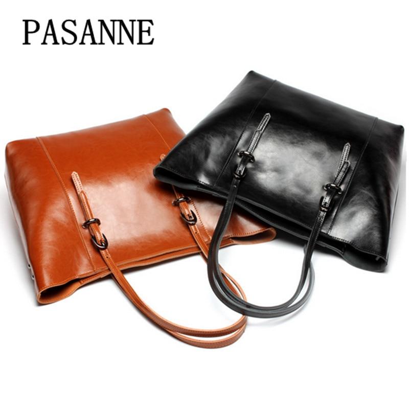 Fashion Women Bag Leather Handbag Genuine Leather 2017 New PASANNE Causal Girl Female Handbags Shopping Bag Woman Shoulder Bags алгебра слова в поисках бога