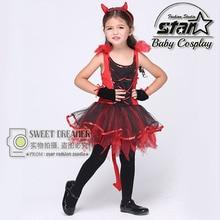 Baby Girl Red and Black Devil Dress Naughty Little Demon Party Dress Fantasia Infantil Children Fancy