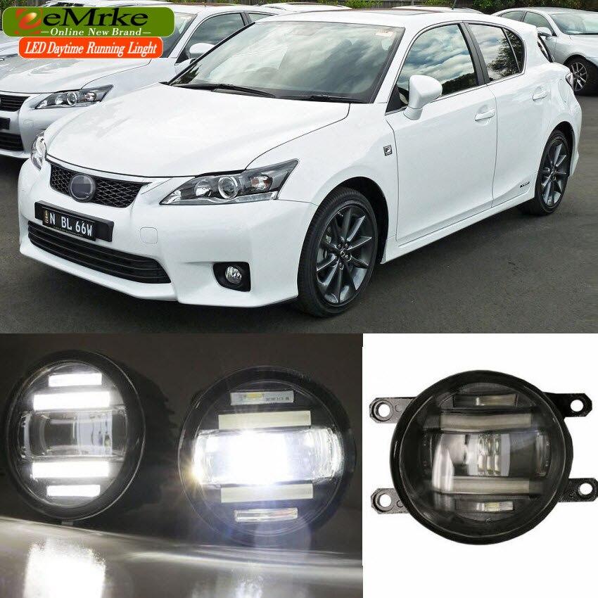 eeMrke для Lexus CT200h А10 2011 годом-до Ксеноновые Белый высокой мощности 2 в 1 СИД DRL проектор туман Лампа с объективом