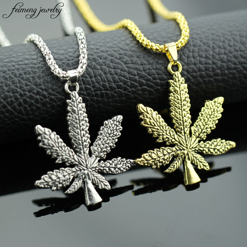 New Iced Out Herb HipHop Necklace & Silver Plated Pendant The Alloy Maple Leaf Hip Hop Bling Long Chain Pendant Necklace for Men