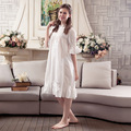 Womens sleeping dress summer vintage nightdress home dress 100 cotton palace princess nightgowns for woman retro sleepwear white