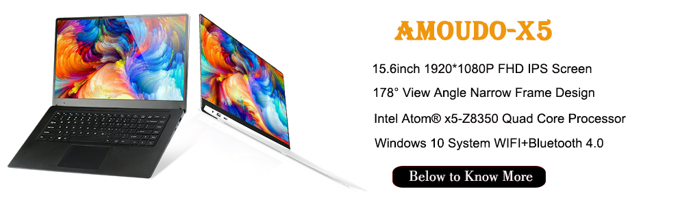 15.6inch 4GB Ram 64GB eMMC Windows 10 System 1920X1080P FHD IPS Screen Intel Atom Z8350 Quad Core Laptop Notebook Computer
