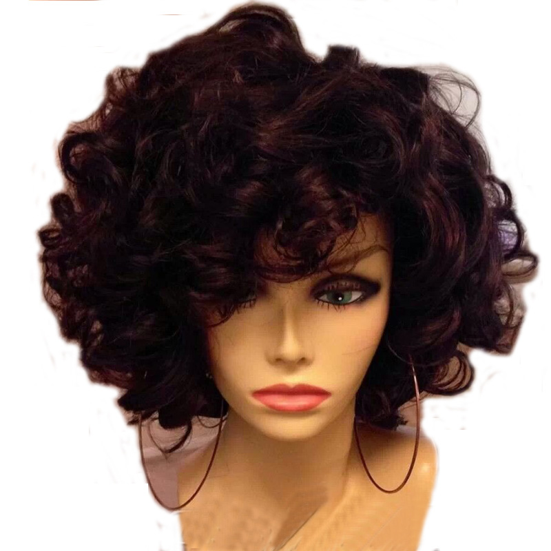 LUFFYHAIR Short Bouncy Curly Lace Front Wig with Bangs 180 Density Brazilian Remy Human Hair Lace