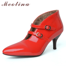 Купить с кэшбэком Meotina High Heels Mary Janes Shoes Women Patent Leather Thin High Heel Shoes Buckle Pointed Toe Party Pumps Red Plus Size 33-43