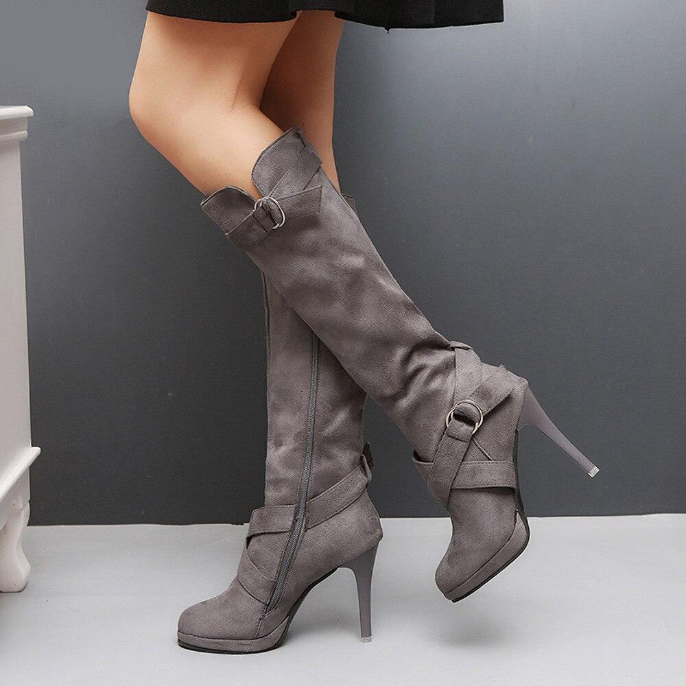Women Ladies Shoes Buckle Roman Platform High Heels Knee Boots Martin Long Boots